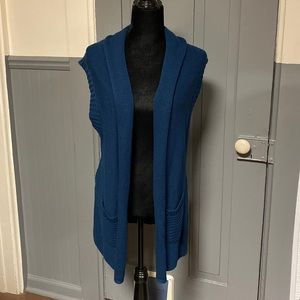 NWT August Silk Shawl Collar Open Front Knit Vest